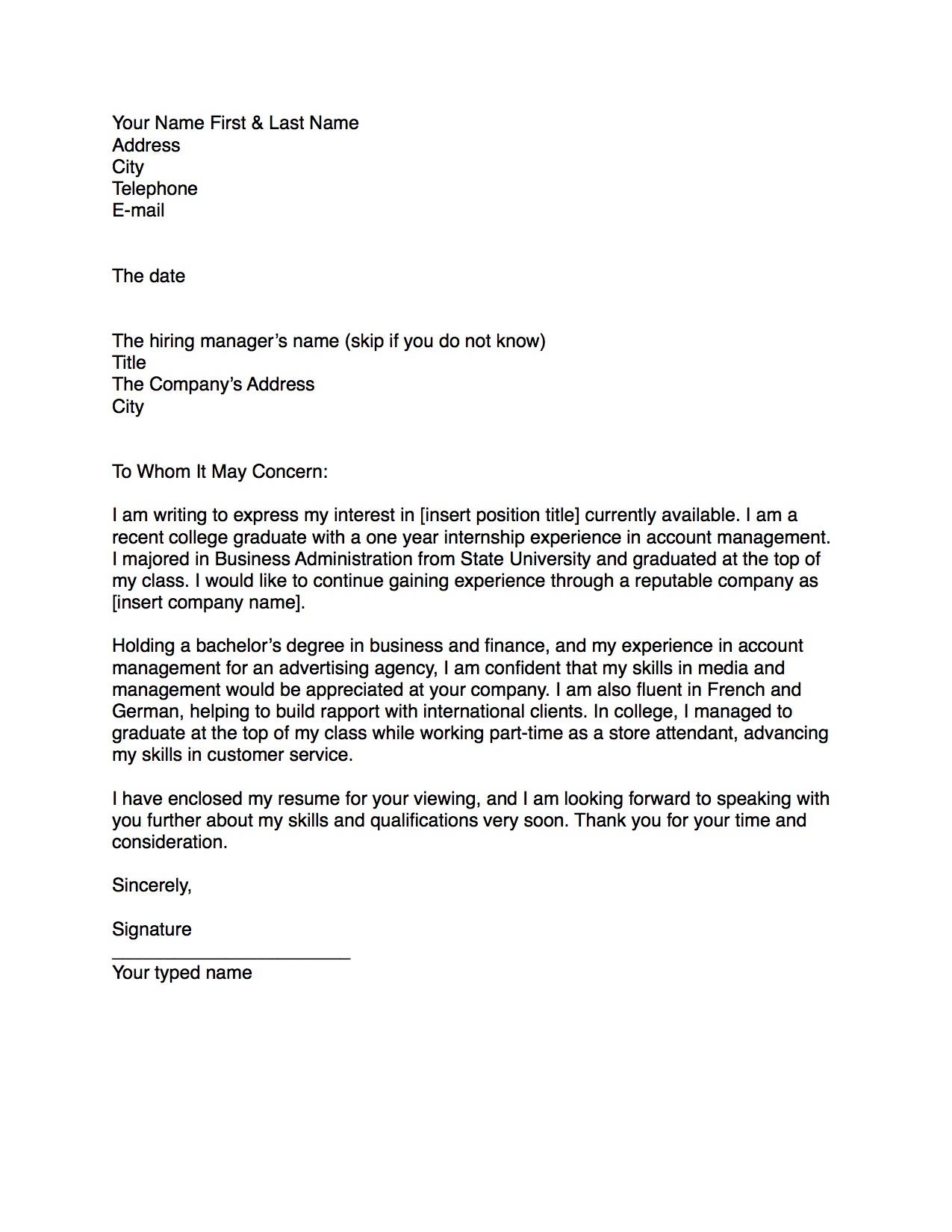 writing a business cover letter